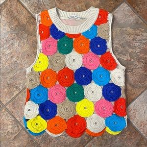 Women's Alice and Olivia crochet top. Colorful.